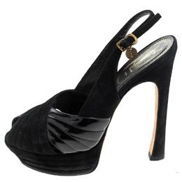Saint Laurent Paris Black Criss Cross Suede and Patent Leather Slingback Platform Sandals Size 40 240619