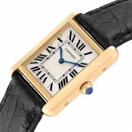 Cartier Silver 18K Yellow Gold and Leather Tank Solo W1018755 Women's Wristwatch 30 x 23 MM 240121