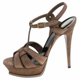 Saint Laurent Paris Brown Suede Tribute Platform Sandals Size 41 240426