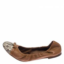 Louis Vuitton Tan/Beige Leather and Python Elba Cap Toe Ballet Flats Size 37