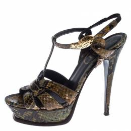 Saint Laurent Paris Green/Black Python Ornament Tribute Platform Sandals Size 38 240763