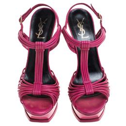 Saint Laurent Paris Magenta Cord Leather T-Strap Platform Sandals Size 39.5 240648