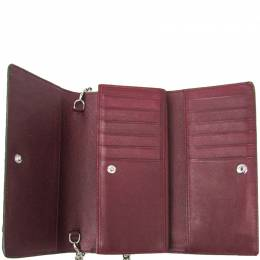 Celine Bordeaux/Red Coated Leather Long Wallet