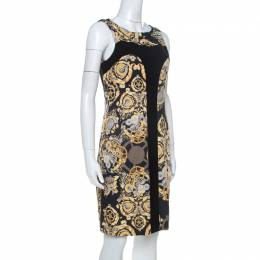 Versace Collection Black Mechanic Print Stretch Paneled Sheath Dress M 237771