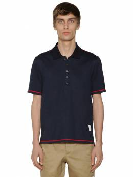 Cotton Jersey Polo W/ Side Slits Thom Browne 71ILA9026-NDE10