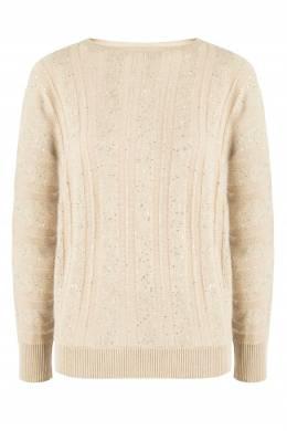 Бежевый пуловер с пайетками Fabiana Filippi 2658163437