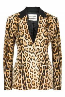 Коричневый пиджак с леопардовым принтом Roberto Cavalli 314163529