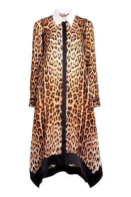 Коричневое платье с леопардовым принтом Roberto Cavalli 314163484