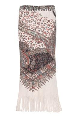 Бежевая юбка с узором и бахромой Etro 907163772