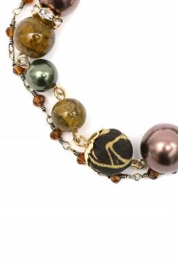 Зелено-коричневый комбинированный браслет Etro 907163689
