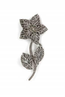 Серебристая брошь-цветок с кристаллами Etro 907163702
