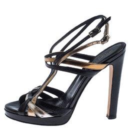 Sergio Rossi Black/Gold Leather Ankle Strap Platform Sandals Size 36 240362