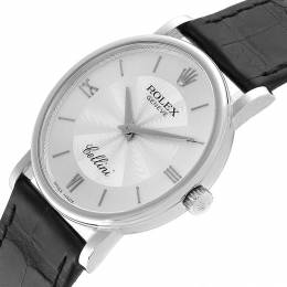 Rolex Silver 18k White Gold and Leather Cellini 5115 Men's Wristwatch 31.8 x 5.5MM 240224