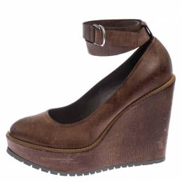 Brunello Cucinelli Brown Textured Leather Ankle Strap Platform Wedge Pumps Size 38 240768