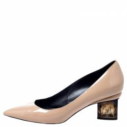 Nicholas Kirkwood Beige Patent Leather Pointed Toe Pumps Size 37 241287