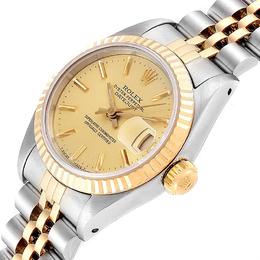 Rolex Champagne 18K Yellow Gold Stainless Steel Datejust 69173 Women's Wristwatch 26 MM 241388
