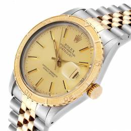 Rolex Champagne 18K Yellow Gold Stainless Steel Datejust Turnograph 16253 Men's Wristwatch 36 MM 241398