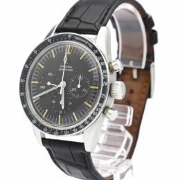 Omega Black Stainless Steel and Leather Speedmaster 105.003 Men's Wristwatch 39MM 241622