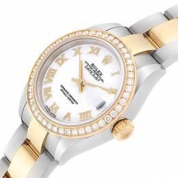 Rolex White Diamonds 18K Yellow Gold Stainless Steel Datejust 279383 Women's Wristwatch 28 MM 240444