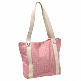 Bvlgari Pink/Beige Logo Mania Canvas and Leather Tote 235479