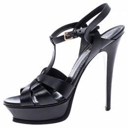 Saint Laurent Paris Black Leather Tribute Platform Sandals Size 39.5 241293