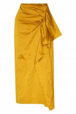 Желтая юбка-миди с драпировкой Dries Van Noten 1525163955