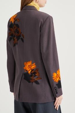 Серый шерстяной жакет с узорами Dries Van Noten 1525163994