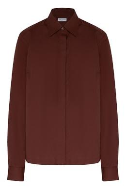 Хлопковая рубашка коричневого цвета Dries Van Noten 1525163965