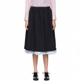 Comme Des Garcons Girl Navy Ruffle Layered Skirt 192670F09200401GB