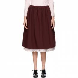 Comme Des Garcons Girl Burgundy Ruffle Layered Skirt 192670F09200502GB