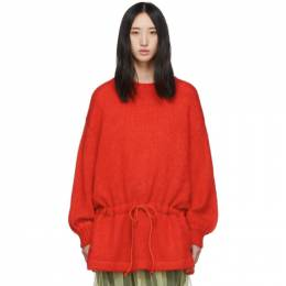 Undercover Red Mohair Drawstring Sweater 192414F09606001GB