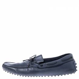 Tod's Grey Leather Bow Slip On Loafers Size 45.5
