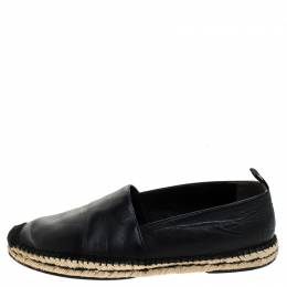 Fendi Black Leather John Booth Face Espadrille Loafers Size 41 241837