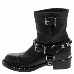 Miu Miu Black Leather Short Studded Motorcycle Boots Size 38.5