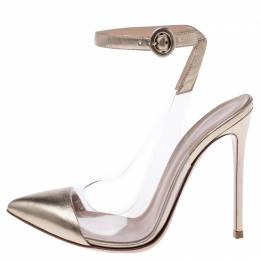 Gianvito Rossi Gold Leather And PVC Anise Pointed Toe Ankle Strap Pumps Size 37.5 241364