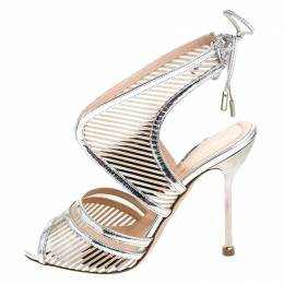 Nicholas Kirkwood Silver Cutout Patent Leather Tie Back Sandals Size 37 241783