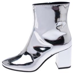 Balenciaga Metallic Silver Leather Ankle Boots Size 36