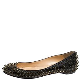 Christian Louboutin Black Leather Studded Ballet Flats Size 38.5 241972