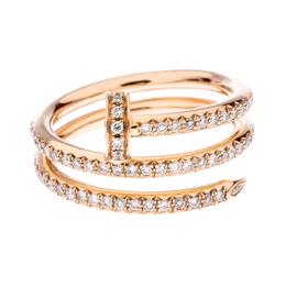 Cartier Juste Un Clou 18K Rose Gold Diamonds Band Ring Size 53 239977