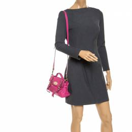 Mulberry Pink Leather Mini Alexa Crossbody Bag 239163