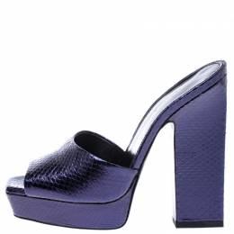 Saint Laurent Paris Purple Python Embossed Leather Platform Sandals Size 38 242775