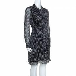 Diane Von Furstenberg Black Dot Print Silk Tie Neck Detail Arabella Dress M
