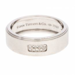 Tiffany & Co. 18K White Gold and Diamonds Century Wedding Band Ring Size 68.5 240730