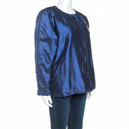 Gianfranco Ferre Blue Silk Oaks Puffer Coat M