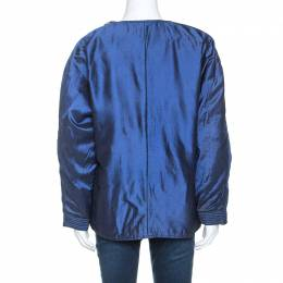 Gianfranco Ferre Blue Silk Oaks Puffer Coat M 242153