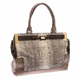 Escada Beige/Brown Croc Embossed Leather and Nubuck Tote 235475