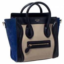 Celine Tri Color Leather and Suede Nano Luggage Tote 235408