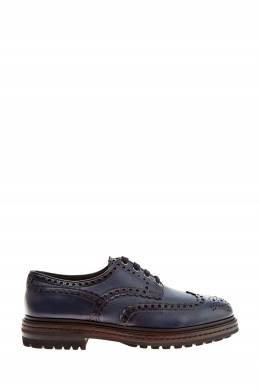 Туфли из кожи синего цвета Santoni 1165162205