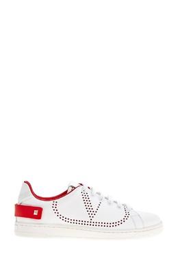 Белые кеды с перфорацией Valentino 210162263