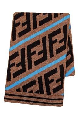 Коричневый шарф с логотипами и голубыми полосками Fendi Kids 690164133